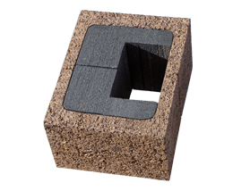 Mezzo blocco spalla in legno cemento